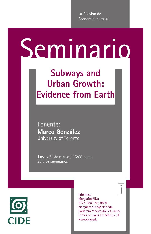 Seminario «Subway and Urban Growth: Evidence from Earth»
