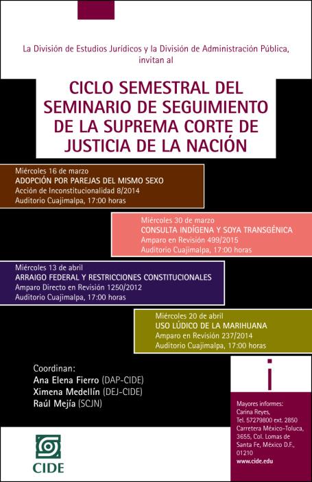 """Seminarios """"Ciclo semestral del seminario de seguimiento de la suprema corte de justicia de la nación"""""""