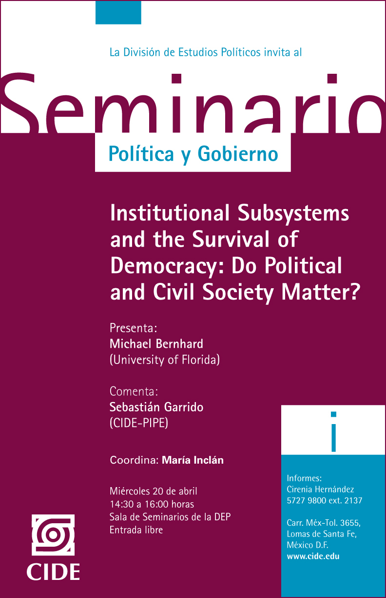 Seminario «Institutional Subsystems and the Survival of Democracy: Do Political and Civil Society Matter»