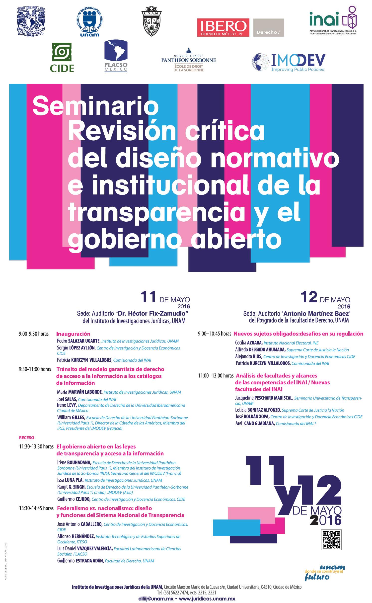 Seminario «Revisión Crítica del diseño normativo e institucional de la transparencia y el gobierno abierto»