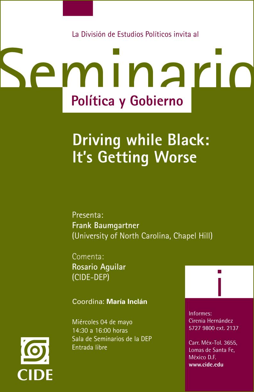 "Seminario ""Driving while Black: It´s Getting Worse"""