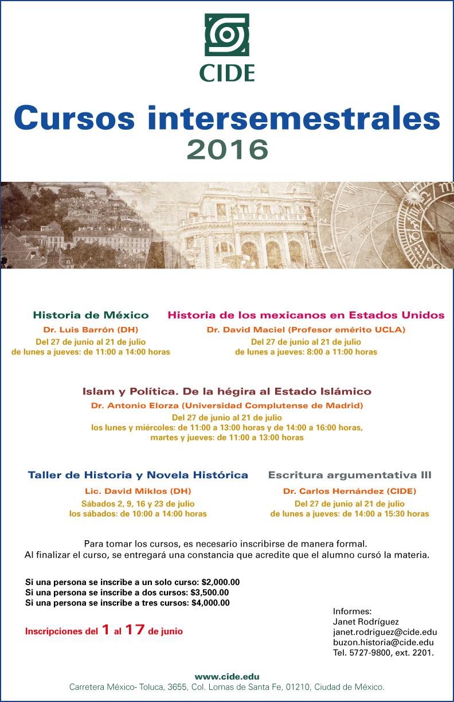 """Cursos intersemestrales de Historia 2016"""