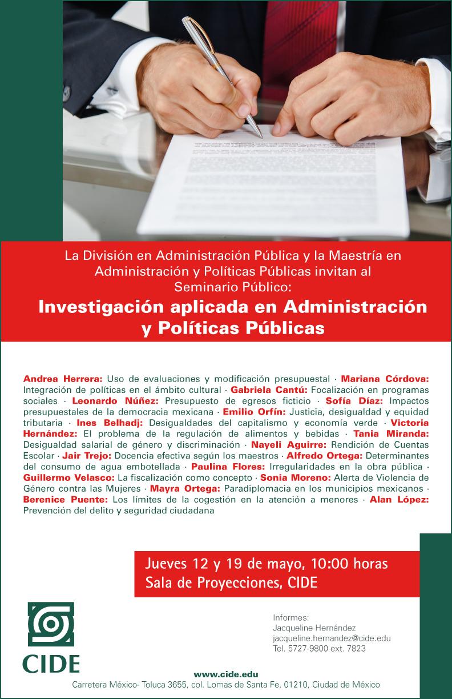 Seminario Público «Investigación aplicada en Administración y Políticas Públicas»