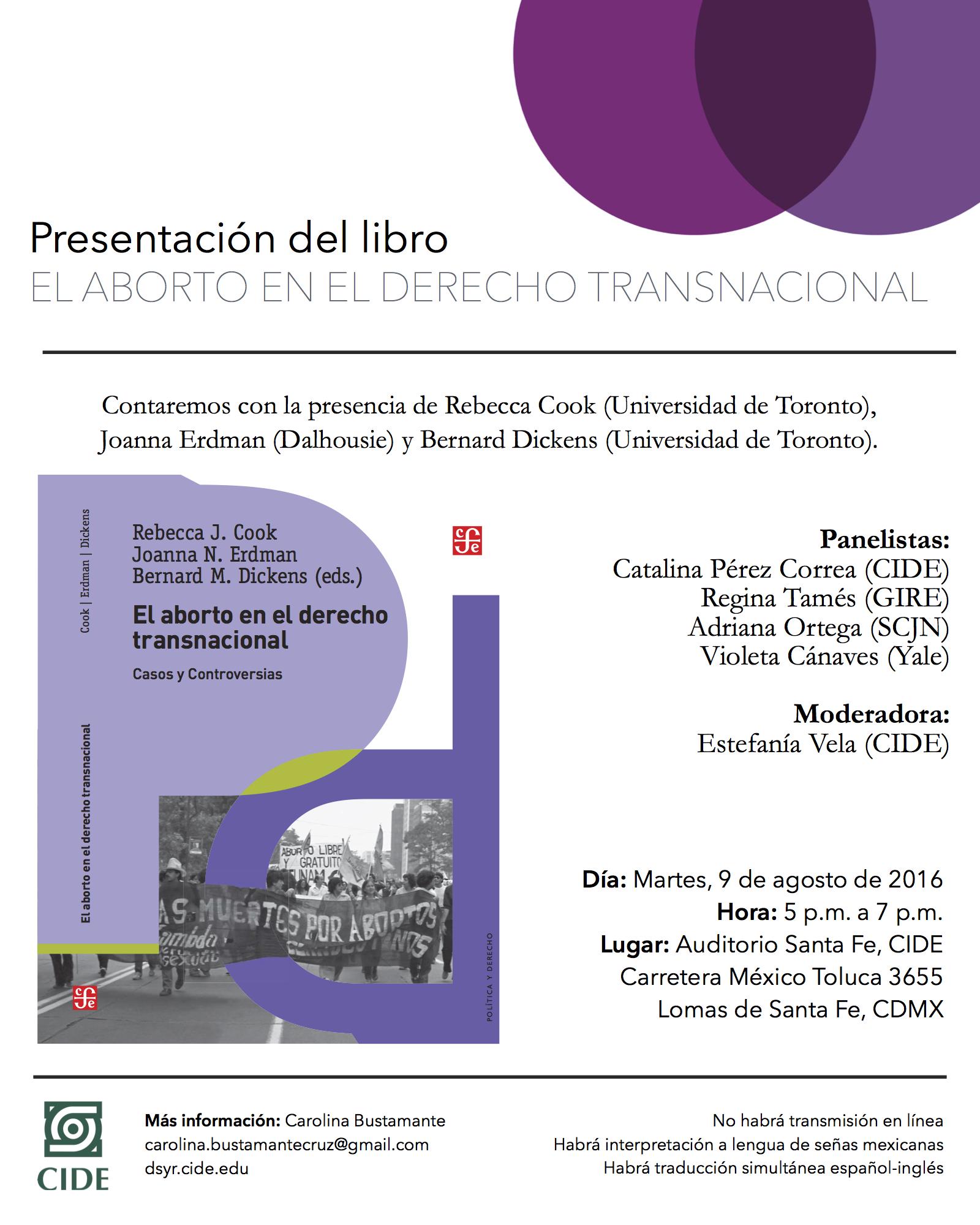Presentación del Libro «El aborto en el Derecho Transnacional»