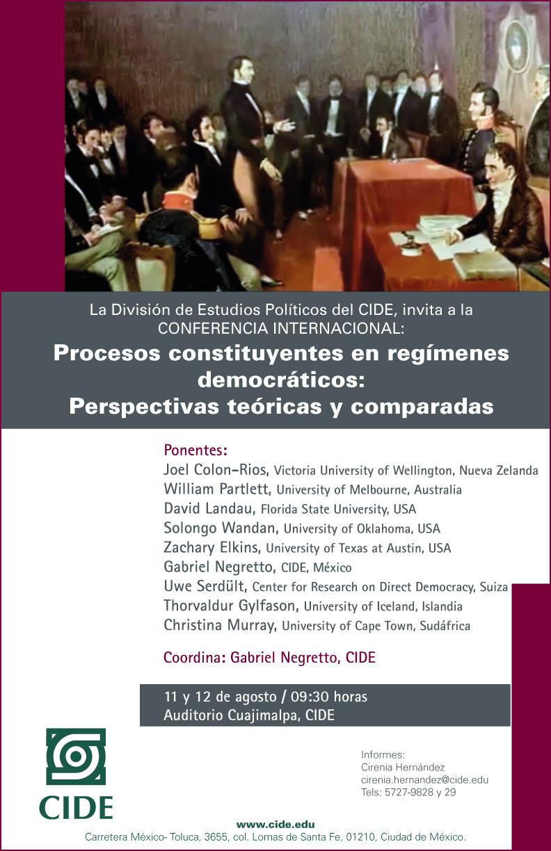 Conferencia Internacional «Procesos constituyentes en regímenes democráticos: perspectivas teóricas y comparadas»