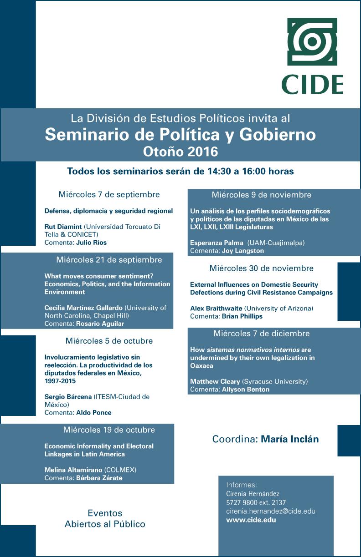 Seminario de Política y Gobierno   Otoño 2016