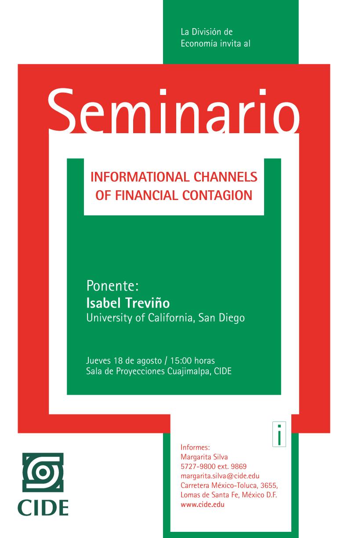 """Seminario de Economía """"International Channels of Financial Contagion»"""