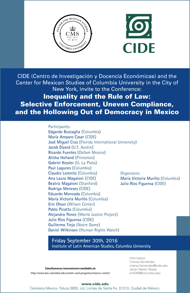 Conference «Inequality and the Rule of Law: Selective Enforcement, Uneven Compliance, and the Hollowing Out of Democracy in Mexico»