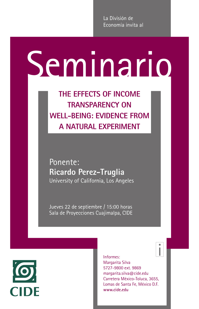 """Seminario """"The Effects of Income Transparency on Well-Being: Evidence from a Natural Experiment»"""