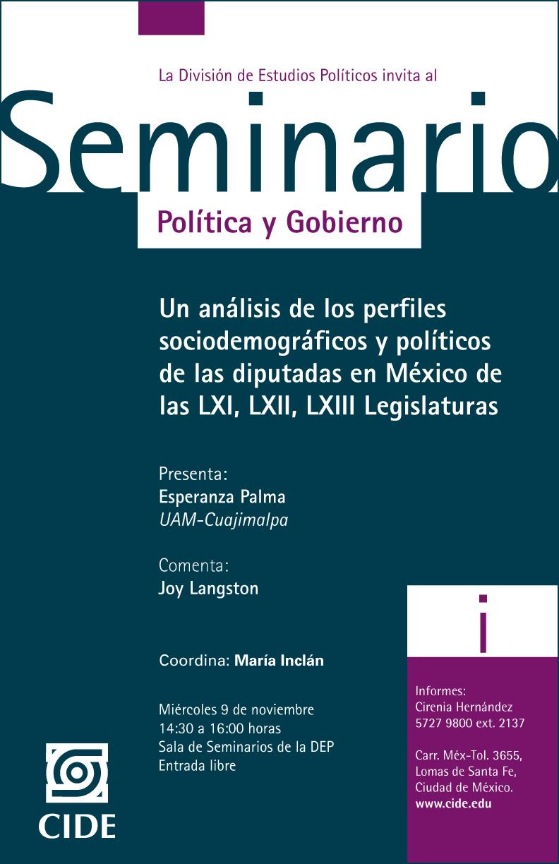Seminario «Un análisis de los perfiles sociodemografícos y políticos de las diputadas en México de las LXI, LXII, LXIII Legislaturas»