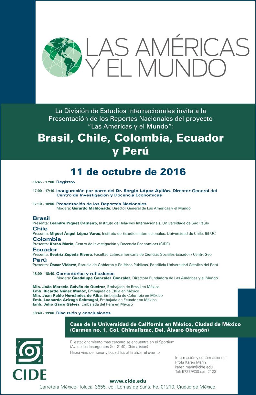"""Presentación de los Reportes Nacionales del proyecto """"Las Américas y el Mundo"""": Brasil, Chile, Colombia, Ecuador y Perú"""