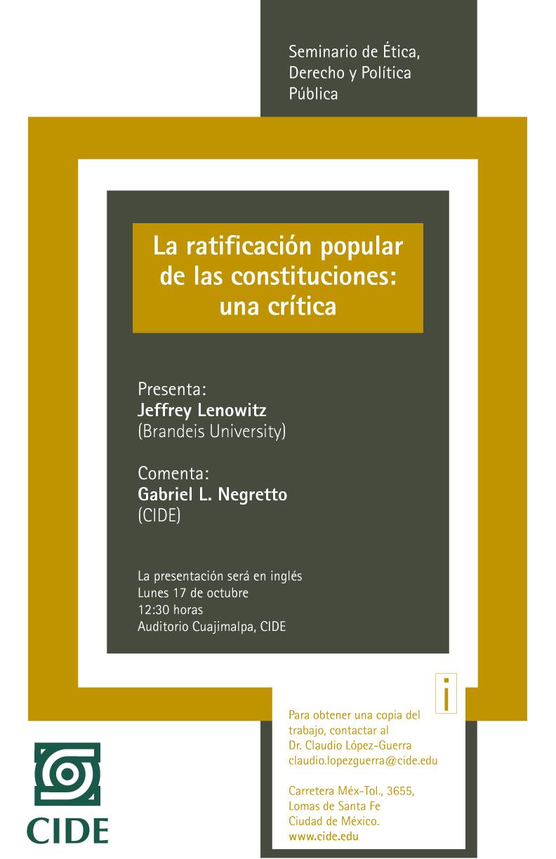 Seminario «La ratificación popular de las constituciones: una crítica»