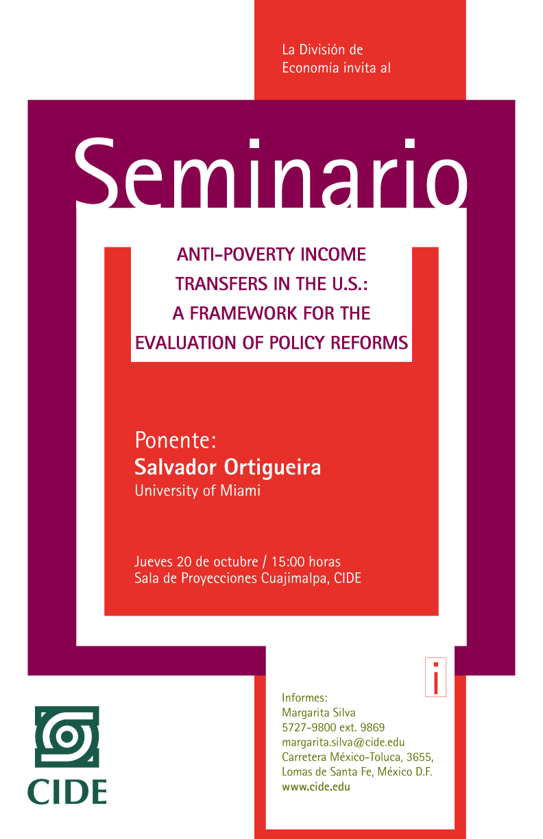 Seminario «Anti-poverty income transfers in the U.S.: a framework for the evaluation of policy reforms»
