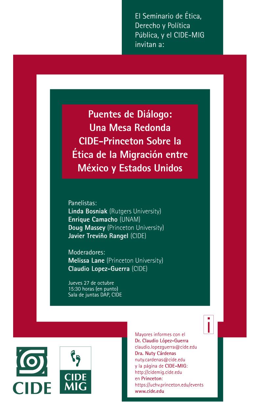 Puentes de Diálogo: Una mesa redonda CIDE-Princeton sobre la ética de la migración entre México y Estados Unidos