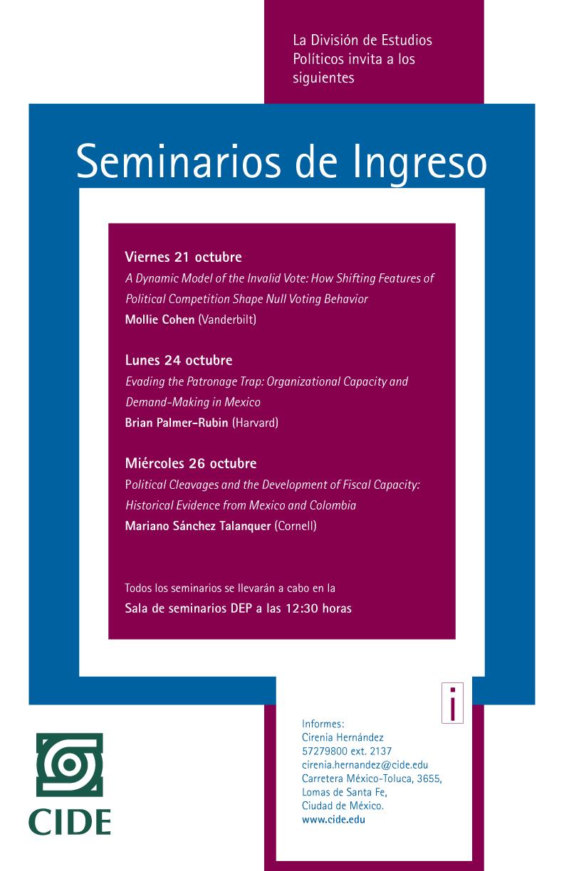 Seminarios de Ingreso | División de Estudios Políticos