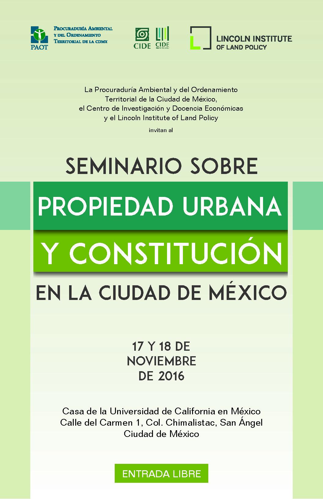 Seminario «PROPIEDAD URBANA Y CONSTITUCIÓN»