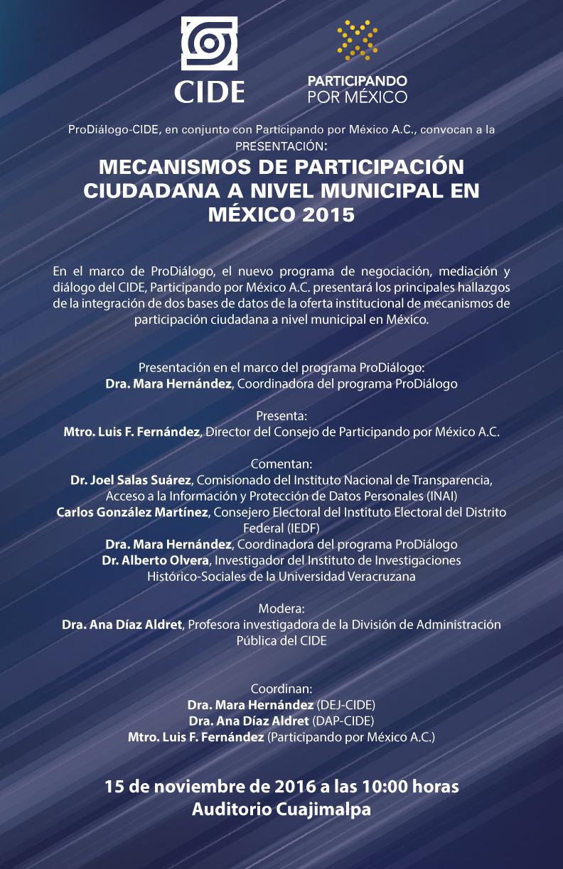 Presentación «MECANISMOS DE PARTICIPACIÓN CIUDADANA A NIVEL MUNICIPAL EN MÉXICO 2015»