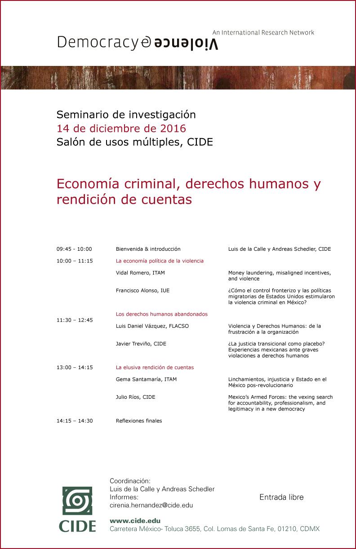 """Seminario """"Economía criminal, derechos humanos y rendición de cuentas"""""""