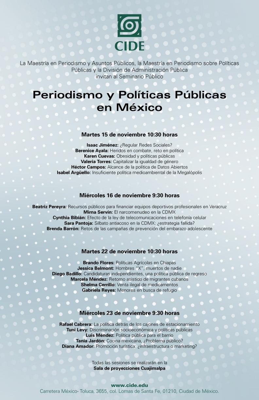 Seminario «Periodismo y Políticas Públicas en México»
