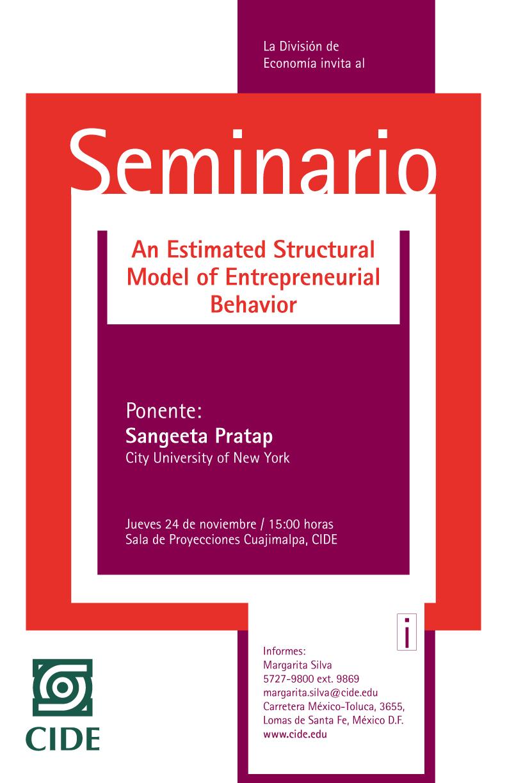Seminario «An Estimated Structural Model of Entrepreneurial Behavior»