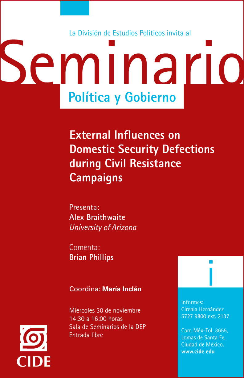 Seminario «External Influences on Domestic Security Defections during Civil Resistance Campaings»