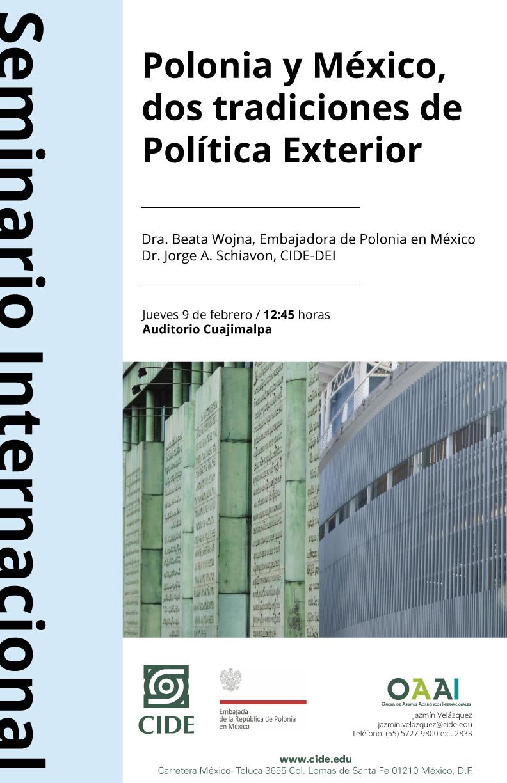 <b>EVENTO CANCELADO</b> Seminario «Polonia y México, dos tradiciones de Política Exterior»