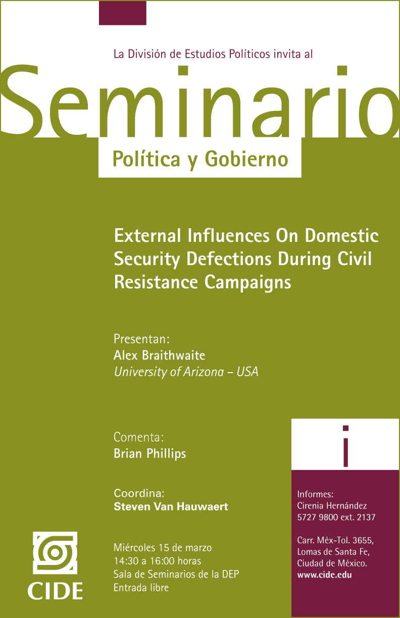 Seminario «External Influences On Domestic Security Defections During Civil Resistance Campaigns»