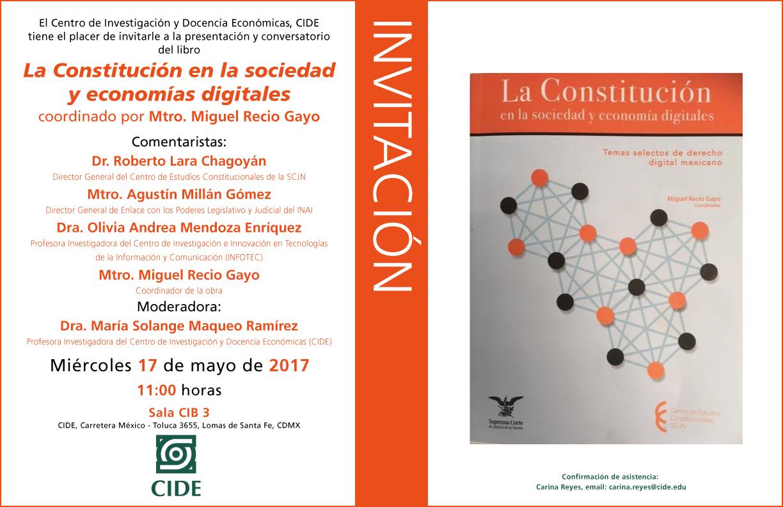 """Invitación """"La Constitución en la sociedad y economía digitales"""""""