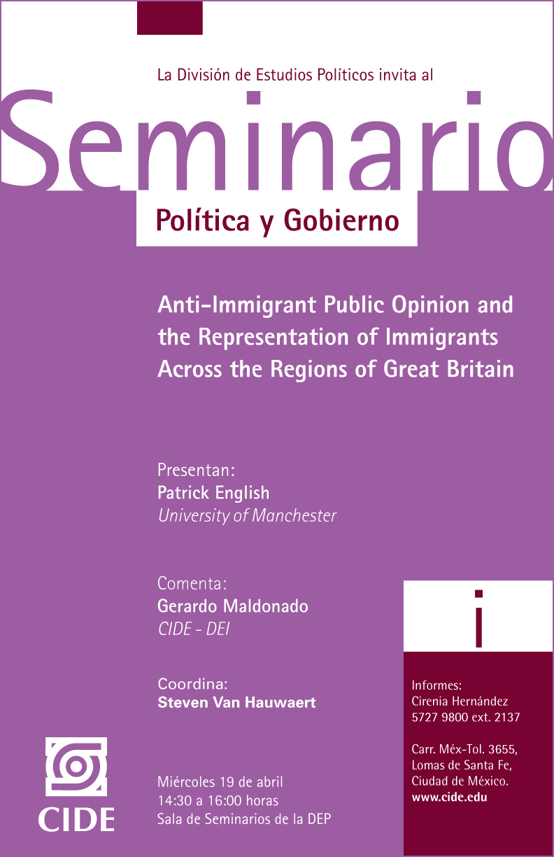 "Seminario ""Anti-Immigrant Public Opinion and the Representation of Immigrants Across the Regions of Great Britain"""