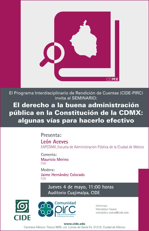Seminario «El derecho a la buena administración pública en la Constitución de la CDMX: algunas vías para hacerlo efecivo»