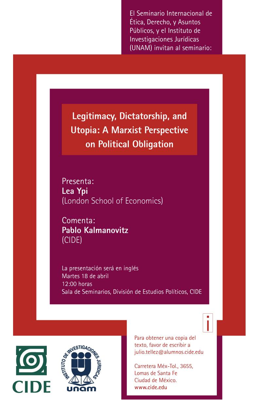 Seminario «Legitimacy, Dictatorship, and Utopia: A Marxist Perspective on Political Obligation»