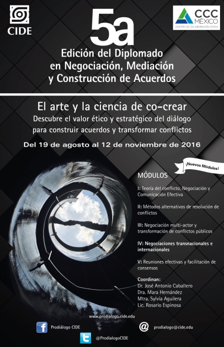 """5ª Edición del Diplomado """"Negociación, Mediación y Construcción de Acuerdos"""""""
