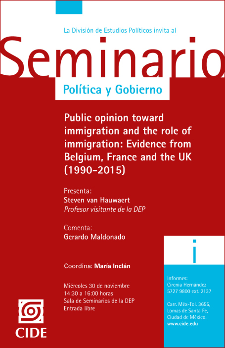 """Seminario """"Public opinion toward immigration and the role of immigration: Evidence from Belgium, France and the UK (1990-2015)»"""