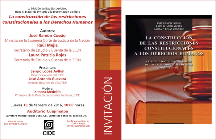"""Presentación del libro """"La construcción de las restricciones constitucionales a los Derechos Humanos"""""""