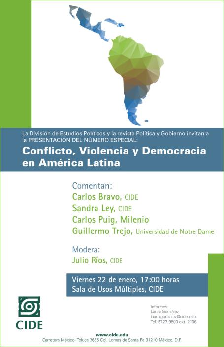 """Presentación del número especial de la revista Política y Gobierno: """"Conflicto, violencia y democracia en América Latina"""""""