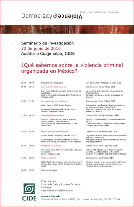 """Seminario """"¿Qué sabemos sobre la violencia criminal organizada en México?"""""""
