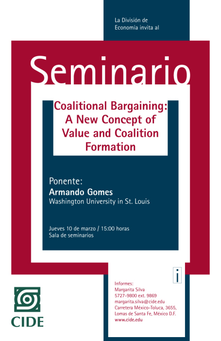 """Seminario """"Coalitional Bargaining: A New Concept of Value and Coalition Formation"""""""