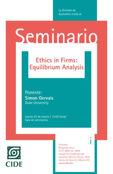 """Seminario """"Ethics in Firms: Equilibrium Analysis"""""""