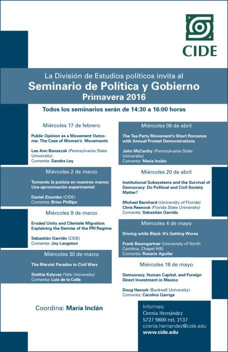 Seminario de Política y Gobierno, Primavera 2016