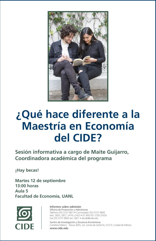 Sesión informativa «¿Qué hace diferente a la Maestría en Economía del CIDE?»