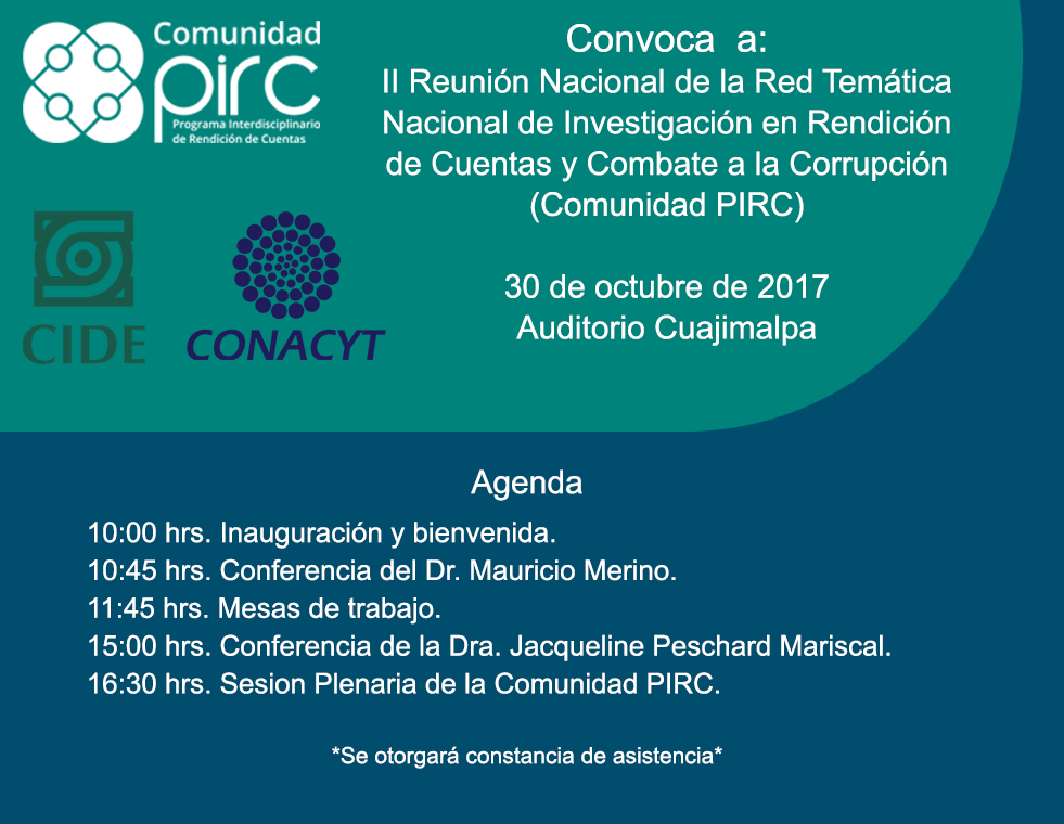 ll Reunión Nacional de la Red Temática Nacional de Investigación en Rendición de Cuentas y Combate a la Corrupción