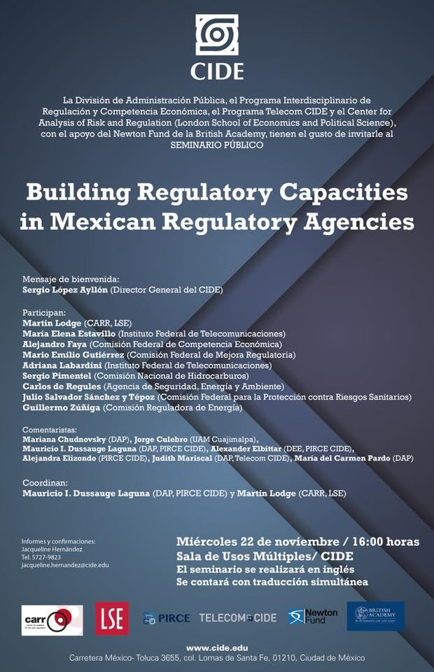 Seminario «Building Regulatory Capacities in Mexican Regulatory Agencies»