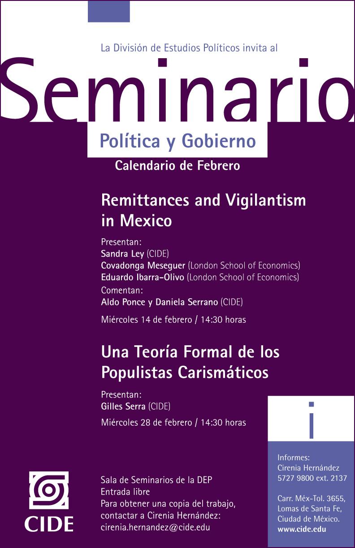 Seminario «Una Teoría Formal de los Populistas Carismáticos»