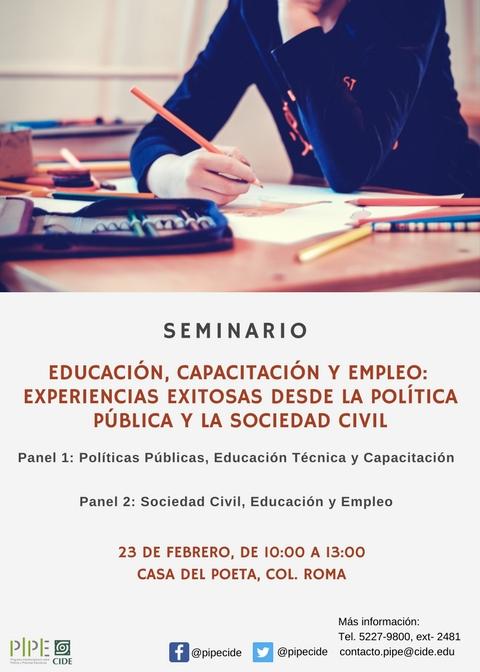 Seminario «EDUCACIÓN, CAPACITACIÓN Y EMPLEO: EXPERIENCIAS EXITOSAS DESDE LA POLÍTICA PÚBLICA Y LA SOCIEDAD CIVIL»