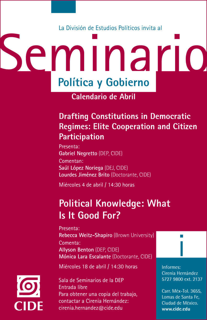 "Seminario ""Political Knowledge: What Is It Good For?"""