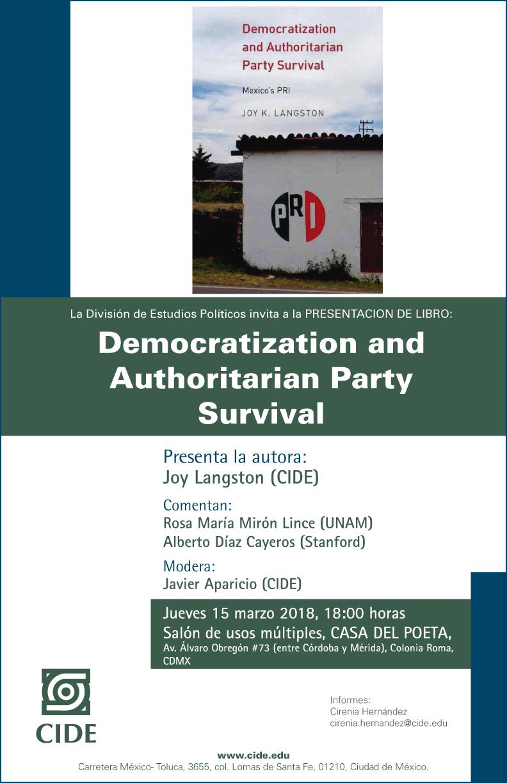 """PRESENTACIÓN DE LIBRO """"Democratization and Authoritarian Party Survival"""""""