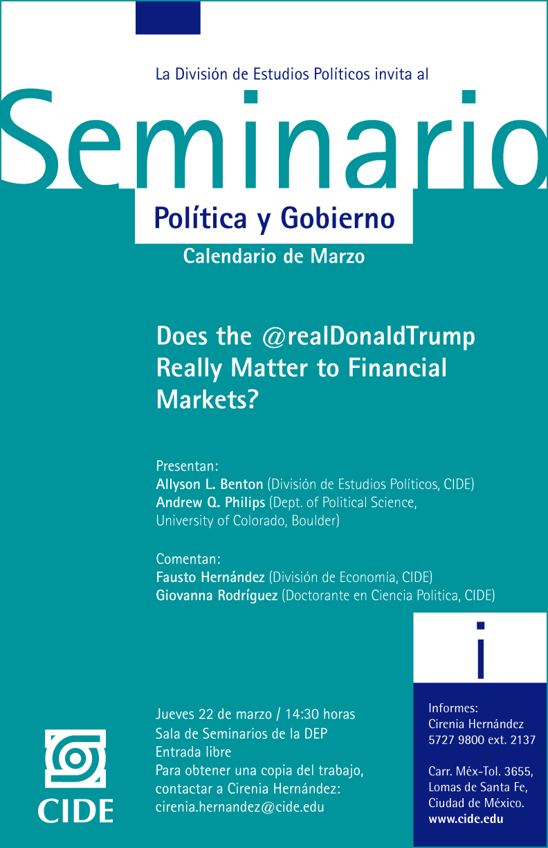 "Seminario ""Does the @realDonaldTrump Really Matter to Financial Markets"""