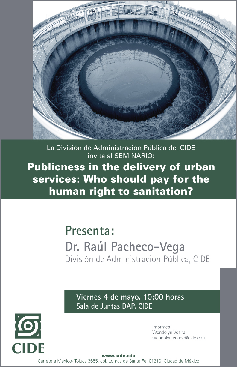 Seminario «Publicness in the delivery of urban services: Who should pay for the human right to sanitation?»