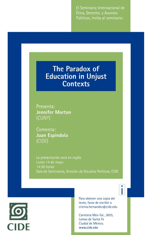Seminario «The Paradox of Education in Unjust Contexts»