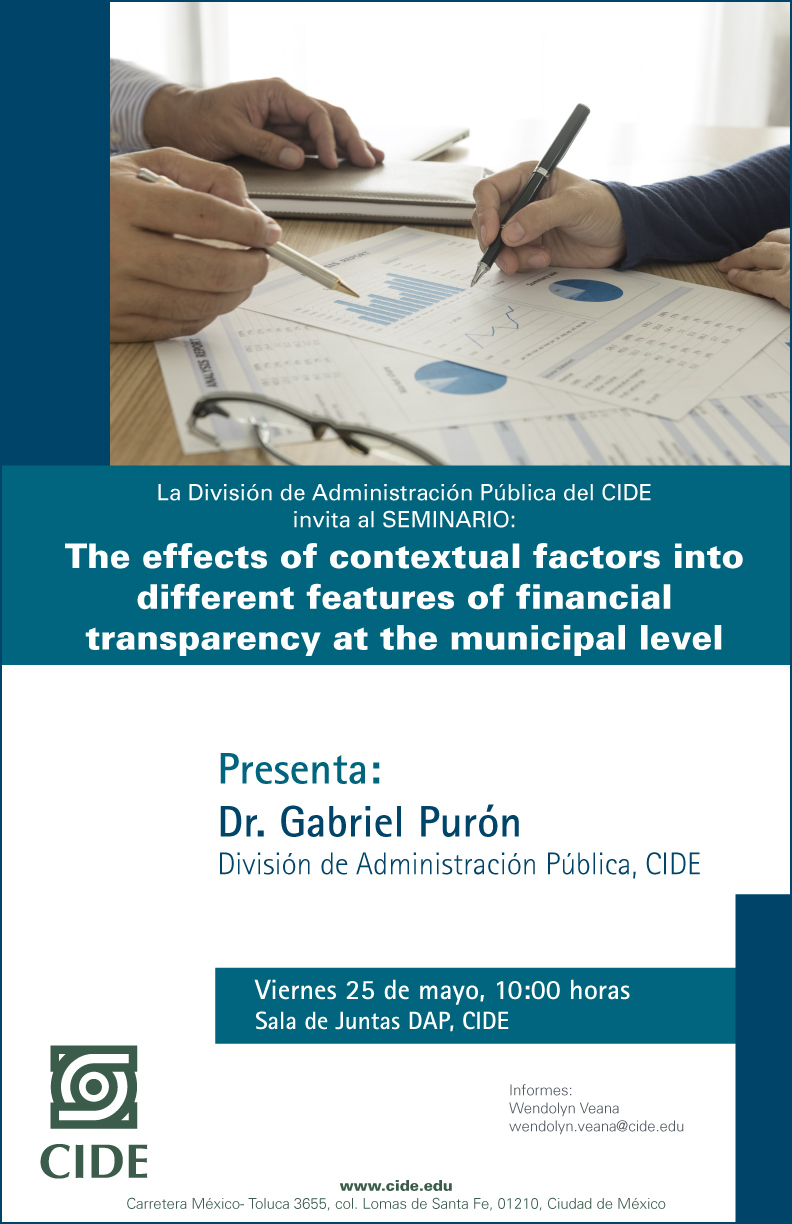 """Seminario """"The effects of contextual factors into different features of financial transparency at the municipal level"""""""